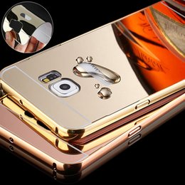 Wholesale Metal Back Bumper - For Samsung S7 S7Edge Edge Mirror Luxury Metal Frame Bumper Hybrid Acrylic Hard Phone Back Case Cover for Samsung G930 G9300 G9350