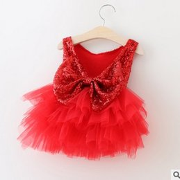 Wholesale Korean Girls Mini Dress - Christmas Girls Princess Sequin Dress New Butterfly back Tulle Tiered Kids Tutu Dress Children ball gown Korean Girls Party Dresses 7202
