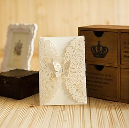 Wholesale Laser Cutting Wedding - Wholesale- Laser Cut Wedding Invitations White Butterfly Flowers Invitation Card For Party Birthday Customizable Baby Shower Invitations