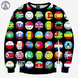 Wholesale funny countries - Hip Hop Cartoon hoodies men women's 3d sweatshirts funny print country ball flag smile faces emoji sweatshirts pullovers