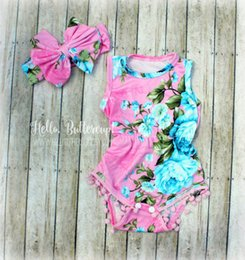 Wholesale Summer Clothing For Baby Girls - In stock Baby girl Vintage pink blue floral romper toddler clothing for Newborn Jumpsuits Baby Diaper covers bloomers playsuits headbands