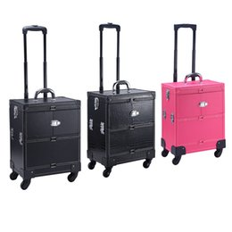 Wholesale Draw Bar Box Travelling Bag - make-up box luggage carrier pu storage box with makeup bag trolley case draw-bar box for professional lady use