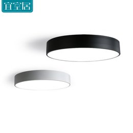 Wholesale Led Modern Ceiling Lights - Modern minimalist style iron black and white round LED living room ceiling lamp bedroom entrance hall balcony corridor lighting