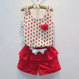 Wholesale Chiffon Shirt Kids Summer - 2016 summer children sets girls floral chiffon shirt tops tshirt + girls red Ruffle bow shorts with bow belt kids princess shorts 2pc sets