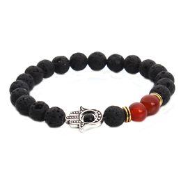 Wholesale Hamsa Bead Bracelets - new 8mm lava energy chakra bracelets Jewelry Unisex colorful beads bracelets Hand of Hamsa Fatima Charm free shipping