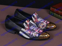 Wholesale Size 12 Men - 2016 Golden Toe Cartoon Printing Oxford Shoes For Men Patchwork Soft Leather Slip On Mens Loafers Plus Size 6-12