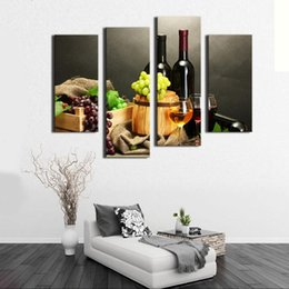 Wholesale Oil Prints Canvas Red - 4 Picture Combination Wall Art Painting Fruit And Red Wine Beside candlestick Pictures Prints Canvas For Home Modern Decor
