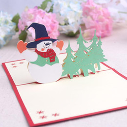 Wholesale Thank 3d - 3D DIY Greeting Cards Xmas Cards Christmas Tree Holiday Christmas Greeting Card Thank You Laser Cut Card Xmas Accessories