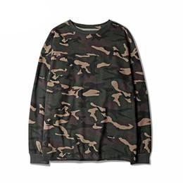 Swag hip hop urbano on-line-Camuflagem Hip Hop Ganhos Camisetas Rua Urbana de Manga Longa Kanye West Hipster Camisa Camo T Top Tees