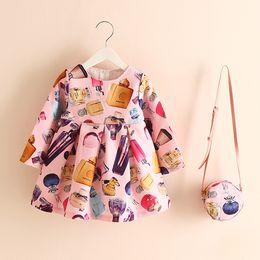 Wholesale Mini Kids Purses - Everweekend Fashion Kids Girls Perfume Floral Print Multi Color Dress with Mini Purse Ruffles Fall Winter Casual Party Dress