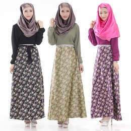 Wholesale Muslim Wear Clothing - 2016 New Woman's Muslim Abaya Islamic Muslim Evening Party Wear Long Sleeve Floral Print Maxi Dress Dubai Kaftan Turkish Plus Size Clothing