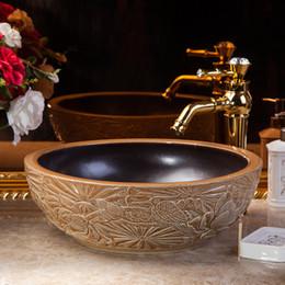 Wholesale Luxury Ceramic Countertop Basins - European Style Hotel Retro Hand Painting Bathroom Marble Countertop Round Luxury Washstand Sanitary Ware Ceramic Hand Wash Basin Sinks