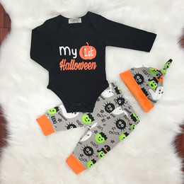 Wholesale Girls Skull Romper - Halloween Sets baby boy clothes Cotton Infant Outfits Toddler Clothing Sets Letter Printed Romper + Skull Tights +Hat 3pcs Suit C2050