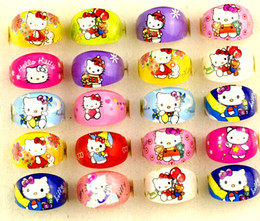 Wholesale Heart Resin Ring - Brand New 100PCs Kitty Kids Round Cartoon resin children favor party jewelry rings wholesale job lots