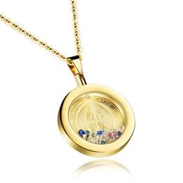 Medallón religioso online-Collar con medallón de la Medalla de la Madre María en joyería católica religiosa de acero inoxidable