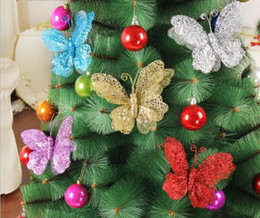 Wholesale Glitter Butterflies Decorations - 5pcs 20cm Glitter Powder Hollow Butterfly Pendant ornament For Christmas Party Tree Venun Hanging Decoration