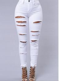 Wholesale Skinny Models High Waist - Burst models slit stretch high waist small straight jeans