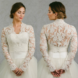 Wholesale Long Bridal Dress Jacket - Hot Sale 2016 Bridal Wraps Long Sleeves Bridal Coat Lace Jackets Wedding Capes Wraps Bolero Jacket Wedding Dress Wraps Plus Size