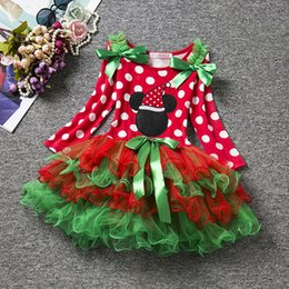 Wholesale Long Rainbow Color Skirts - 2017 New Girl Christmas Mickey Minne dress children Fashion princess party bowknot Print Rainbow colors long sleeve tutu Dress skirt B