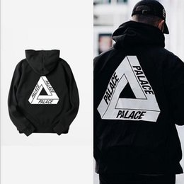 Wholesale Long Sweat Fashion - Winter Palace Skateboards Hoodies & Sweatshirts Men's Fashion Hoodies Pullovers Hip Hop Black Men Coat Cotton Triangle Printed Sweat