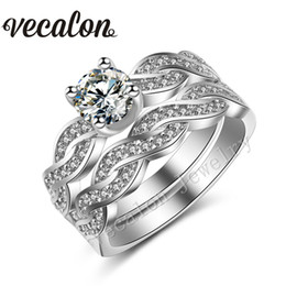 Wholesale Cross Diamond Ring - Vecalon Handmade New Simulated diamond Cz Cross Wedding Ring Set for Women 18KT White Gold Filled Female Engagement Band ring