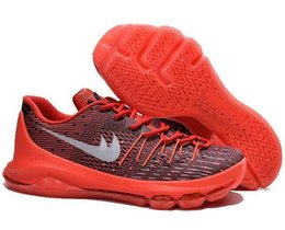 Wholesale Cheap Ticking - Cheap Kevin Durant KD 8 Basketball Shoes V8 Bright Crimson With Tick KD8 Sports Shoes Discount Leather Men s Basketball Sneakers free shippi