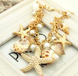 Wholesale Gold Seashell Charms - Starfish Charm Bracelets Seashell Starfish shell bracelet Conch Pearl Gold Plated Starfish Seashell Conch Pearl Bracelet