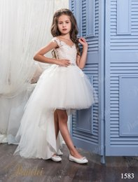 Wholesale Ballgown Rhinestone Wedding Dress - Hi Lo Flower Girls Dresses for Weddings 2017 with Sheer Neck and Cap Sleeves Appliques Tulle Little Ballgown Girls Wedding Gowns Custom Made