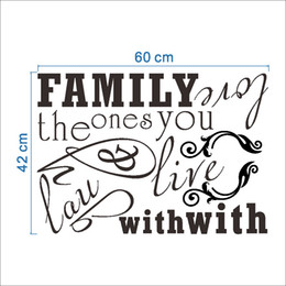 Wholesale Wall Vinyl Family Love - Family the ones you live with laugh with Love Wall Stickers Living Room Bedroom Wall Decals Quote DIY Home Decoration Wallpaper Poster Art