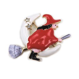 Wholesale Wholesale Witches Brooms - Wholesale- Bovvsky Gold color Enamel Halloween Witch Besom Broom Moon Christmas Brooch Red wizard Brooches Women accessory friends gift
