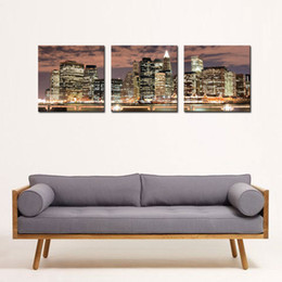 Wholesale feature art - 3 Panel New York City Night Canvas Print Stretched Canvas No Frame Featuring The perfect fine art addition to your home or office decor