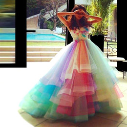 Wholesale Navy Blue Princess Organza - rainbow Colorful Prom Dresses Sweetheart Layers Organza Handmade Flowers Graduation Dress Beads Pleats Princess Pageant Quinceanera Dress