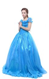 Wholesale Cinderella Costumes Adults - Cinderella Costume blue dress Custom For Adults women Princess Dress Cosplay Costume for party