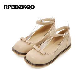 Wholesale Lady Bow Pump Platform - Ladies Platform 2017 Ankle Strap Bow Large Size 10 Shallow Custom Women Flats Shoes With Little Cute Bowtie Round Toe 43 Spring
