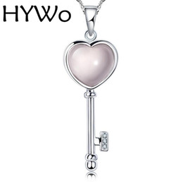 Wholesale Luxury Opal Jewelry - HYWo (without chain) Luxury Design QUARTZ pink crystal love key pendant necklace Hypoallergenic jewelry gift for women