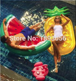 Wholesale Floating Pool Mats - Wholesale- Watermelon Slice Inflatable Pineapple Water Play Equipment Flamingo Drink Holder Island Holiday Pool Float Summer Toy Air Mat