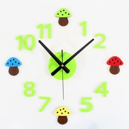 2016 New Arrival Pastoral Forest Mushrooms Diy Kids Wall Clock Cartoon Room Decorative Household Clocks Decor Items From Dropshipping Suppliers