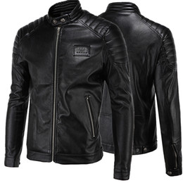Wholesale Leather Jacket For Short Men - Short Black 5XL Jacket For Mens PU Leather Slim Mens Jacket Coats Stand Collar Autumn Wild Motorcycle Long Sleeve Overcoat Men J160814