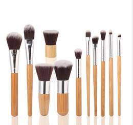 11 stück bambus pinsel Rabatt Kosmetik Maquiagem Profissional 11 Pcs professionelle hochwertige Bambus Make-up Pinsel Set Ziegenhaar Kosmetik Pinsel Kit mit Tasche Dhl