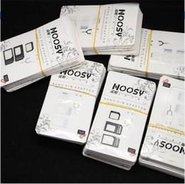 telefones clonados por atacado Desconto 10 pçs / lote adaptador de cartão noosy nano sim 4 em 1 adaptador micro sim com ejetar pin chave pacote de varejo para o iphone 5 / 5s / 6/6 s / samsung