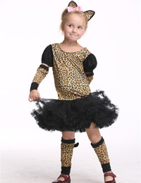 Wholesale Toddlers Leopard Costume - Girl Leopard Dress Costume Halloween Costume For Kids Stage & Dance Wear Toddler Long Sleeve Tutu Skirt Party Cosplay