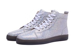 Wholesale Colorful Mens High Top Shoes - New Arrivals Mens Womens Crystal Colorful Sand Leather High Top Transparent Red Bottom Causal Shoes Design Leisure Shoes 36-46