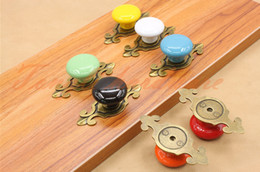 Wholesale Drawer Knobs Kid - White Yellow Red Blue Green Orange Black kids child colorful ceramic single knob handle with bronze base kitchen cupboard drawer pulls #22