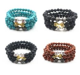 Wholesale Gold Plated Barbell - 2017 Mens Matte Beads Bracelet New Alloy Metal Barbell & Lava Rock Stone Beads Fitness Fashion Dumbbell Bracelets