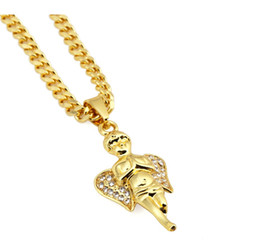 Wholesale Crystal Piece For Gifts - Factory sale 18K Bling Gold Angel Boy Pendant Necklace Hip Hop Jewelry Micro Angel Piece Necklace Cherub Chain For Unisex With Gift Box