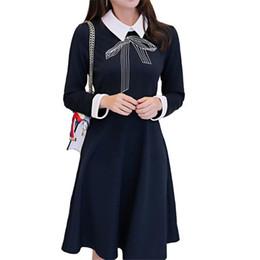 invierno línea larga 2017 nuevo vestidos de manga delgado de mini otoño lindo impresión vestido pajarita fiesta de de mujeres vestido negro las coreano una r0Hwg0qfx