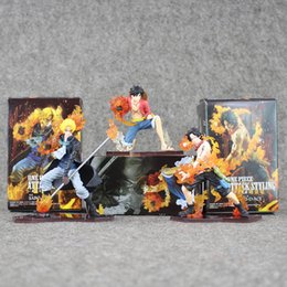 Wholesale Ace Good - 9-13.5cm One Piece Monkey D Luffy Sabo ACE PVC Action Figure Toy Gift For Children With Box Free shipping retail