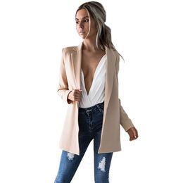 Wholesale Long Winter Cape Coat - Autumn Fall Winter 2017 Fashion Long Sleeve Blazer Feminino Women Office Female Jackets Cape Ladies Blazers Black Cardigan Coat