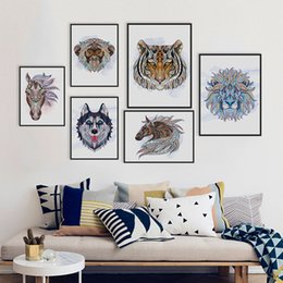 Wholesale African Art Wall Decor - Ancient African National Animals Head Deer Lion Art Prints Poster Living Room Wall Picture Canvas Painting No Frame Home Decor