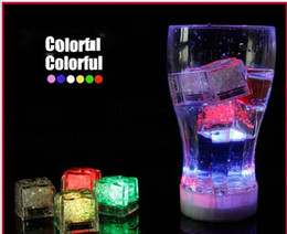 Wholesale Led Ice Cubes Lights Wholesale - Mini Romantic Luminous Cube LED Artificial Ice Cube Flash LED Light Wedding Christmas Decoration Party aoto color